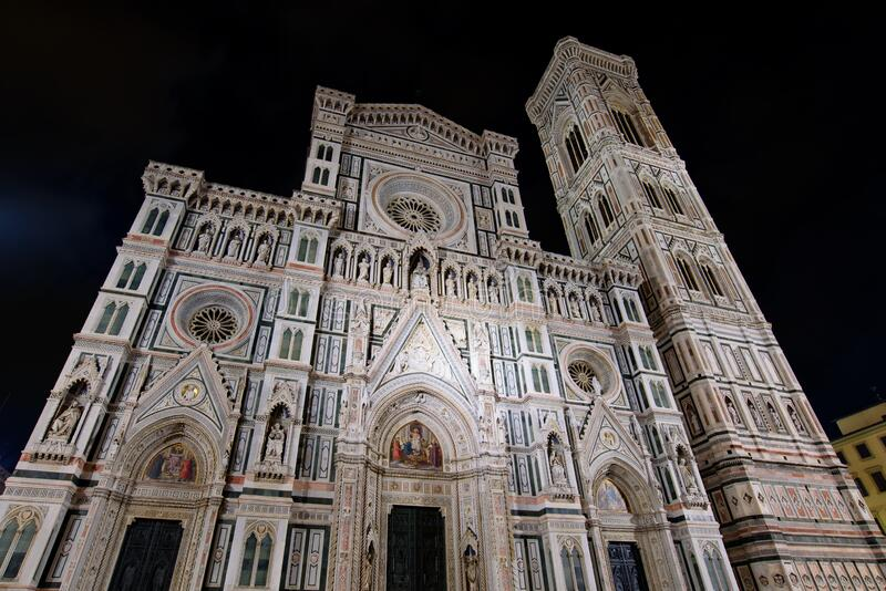Night view of Cathedral of Saint Mary of the Flower and Giotto`s Campanile in Florence , Italy stock images