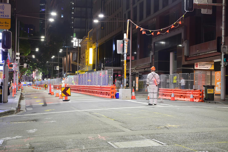 Night view of CBD and South East Light Rail construction along George Street. This is part of the approved public transportation project in Central Business royalty free stock photos