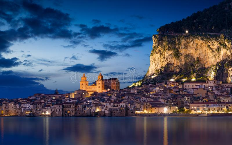 Night view of Cefalu, Sicily, Italy royalty free stock image