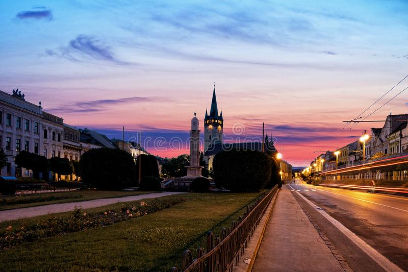 Athedral of Saint Nicholas in Presov. Slovakia. Night view of the central square with Cathedral of Saint Nicholas in Presov. Slovakia, Europe stock photo