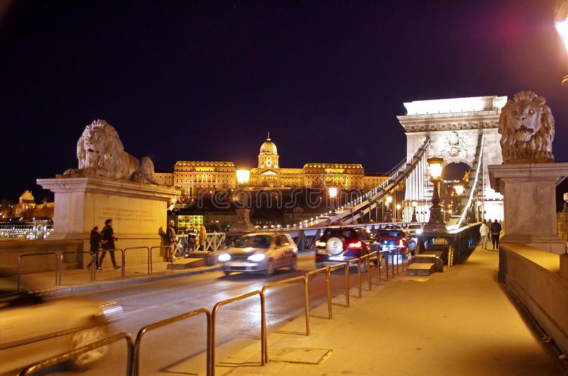 Night view of Chain Bridge, Budapest stock images