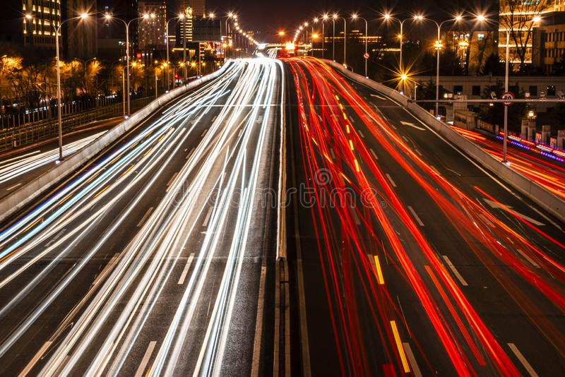 Night view of Changchun City Expressway. Jilin Province royalty free stock photography