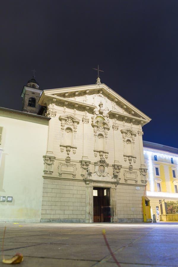 Night view of Chiesa di San Rocco from Lugano. Switzerland stock photos