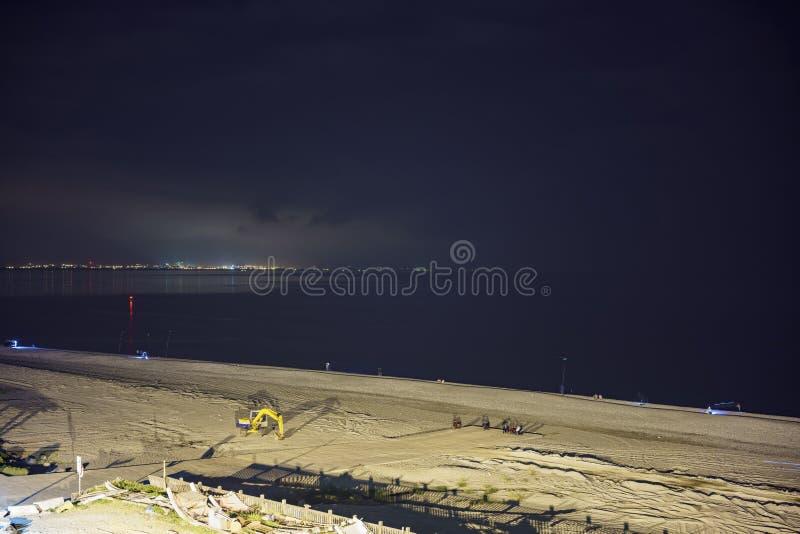 Night view of the Chihsingtan Beach stock photography