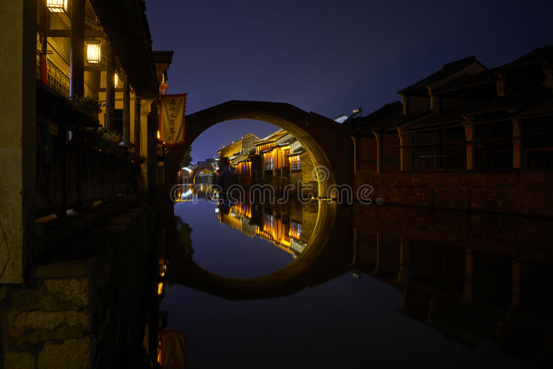 Night view of Chinese ancient town royalty free stock image