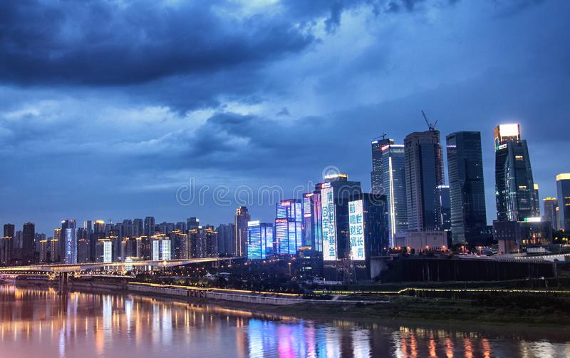 Night view of Chongqing China cityscape stock photography