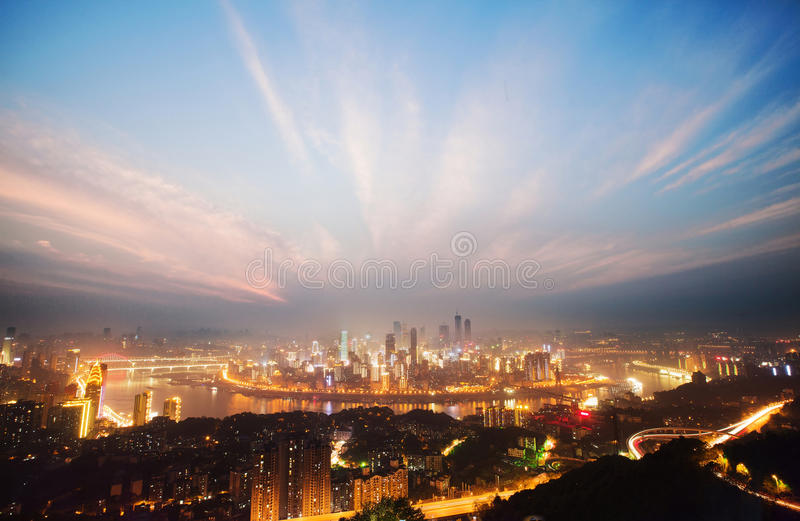 Night View of Chongqing. On the top of mountain, view the whole Chongqing city. The light is so shine and the scene is so great! This is a colorful night. This stock photo