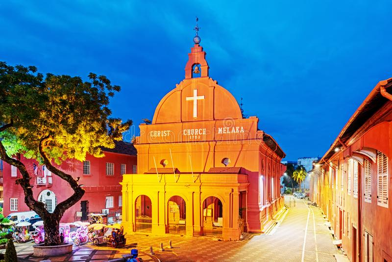 Night View of Christ Church Melaka city, Malaysia stock image