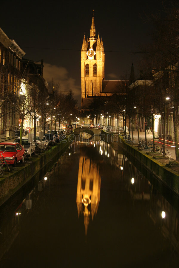 Download Night View Of Church Reflecting In Canal Stock Image - Image: 1905893