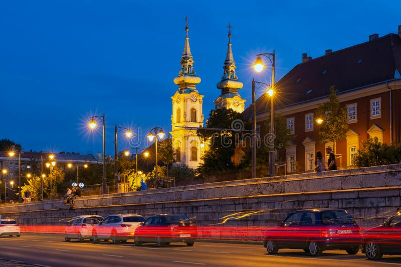 Night view at Church of St. Anne in Budapest, Hungary stock photo
