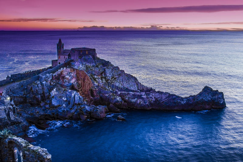 Night view of the church of St. Peter at sunset in Portovenere stock images