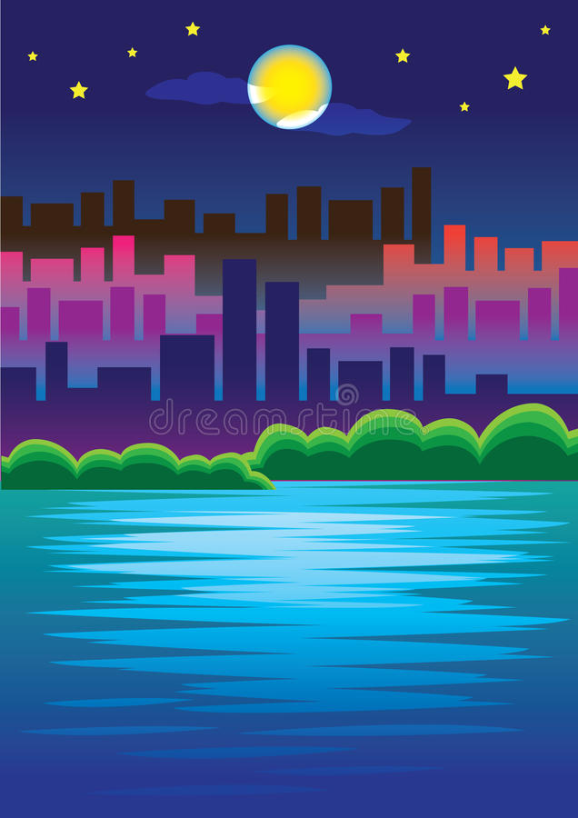 Download Night view in the City stock vector. Image of shape, illuminated - 25671804