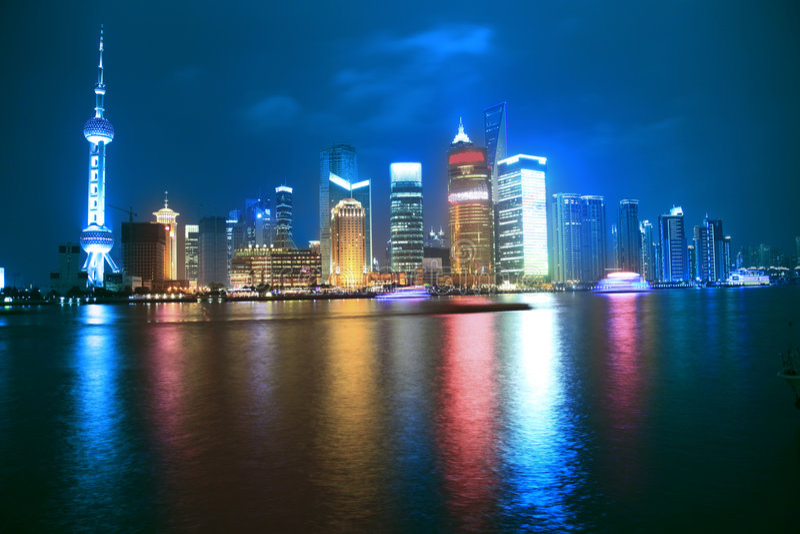 Night view of city royalty free stock photos