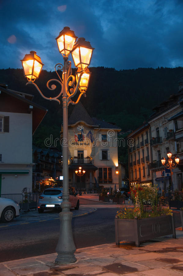 Night view of city hall with close-up of lamp in Saint-Gervais-Les-Bains, stock images
