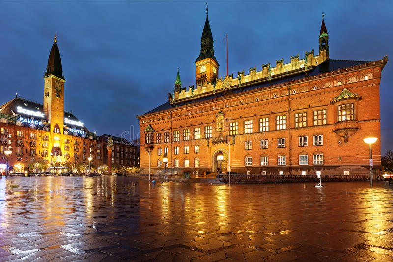 Night view of City hall of Copenhagen, Denmark royalty free stock photo