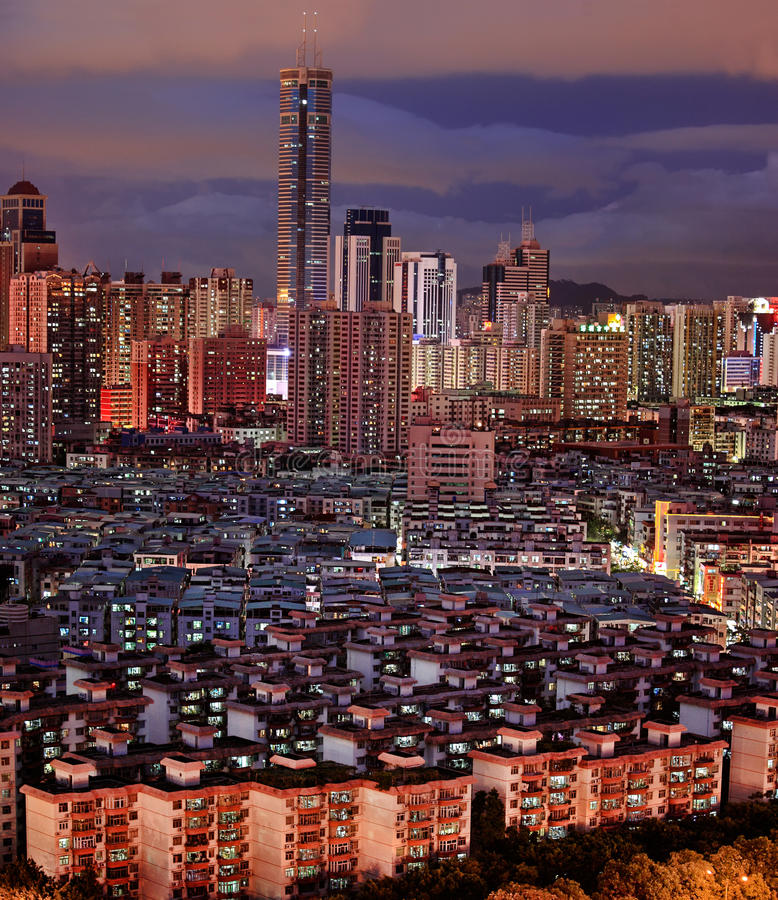 Night view of city landscape in Shenzhen China