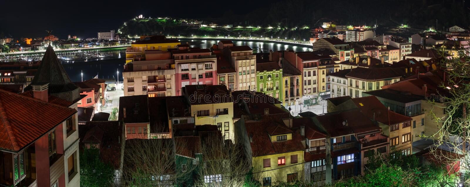 Night view of the city of Ribadesella stock images