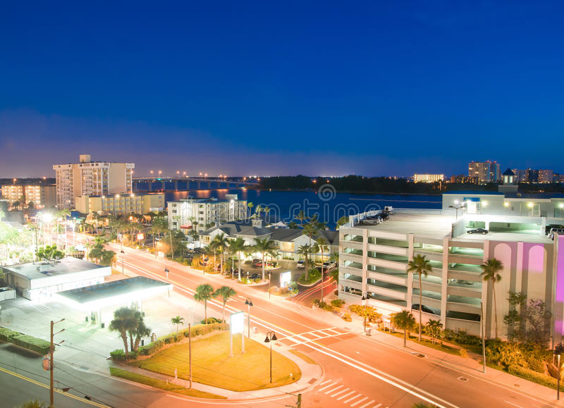 Night view of clearwater. At tampa florida USA royalty free stock photography