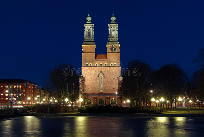 Night view on Cloisters Church in Eskilstuna. Night view on Cloisters Church (Klosters kyrka) in Eskilstuna, Sweden stock photos