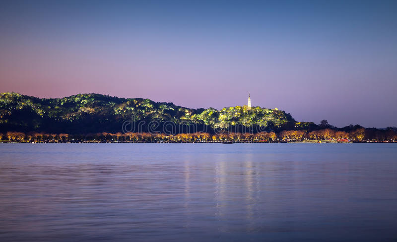 Night view, coast of West Lake in Hangzhou city center royalty free stock photography