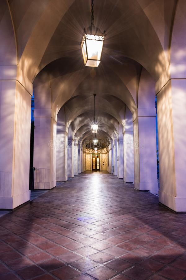 Night view of the City Hall colonnade, Pasadena royalty free stock images