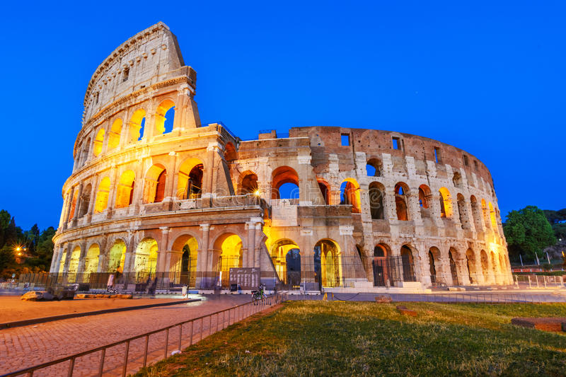 Night view of the Colosseum or Coliseum, the Flavian Amphitheatre, Rome, Italy royalty free stock image