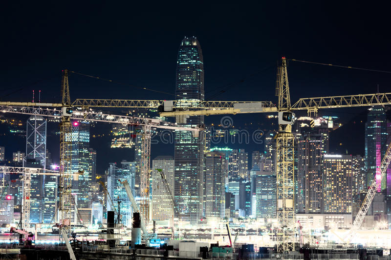 Night view of construction site in Hong Kong stock photos