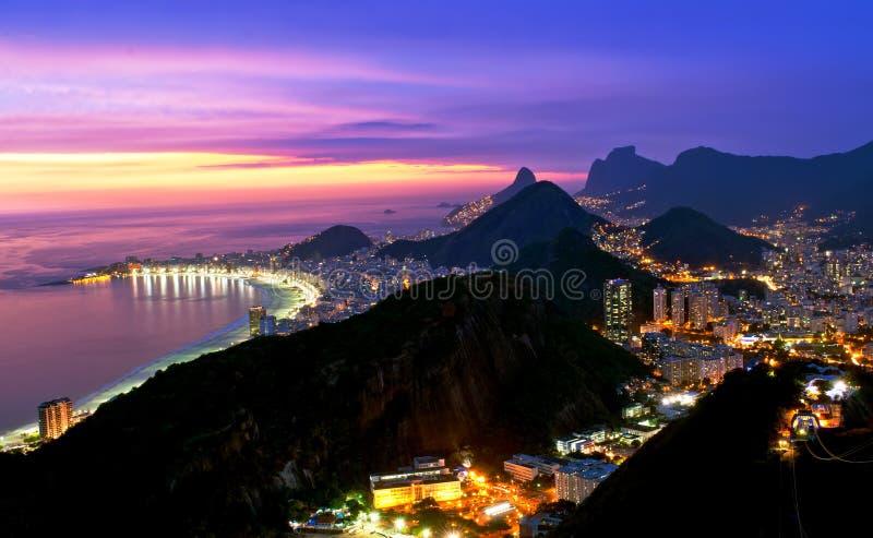Night view of Copacabana beach and Botafogo in Rio. Night view of Copacabana beach and Botafogo from Sugar Loaf in Rio de Janeiro stock photos