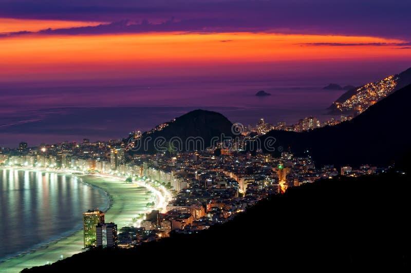 Night view of Copacabana beach in Rio de Janeiro. Sunset on Copacabana beach in Rio de Janeiro. Brazil stock images