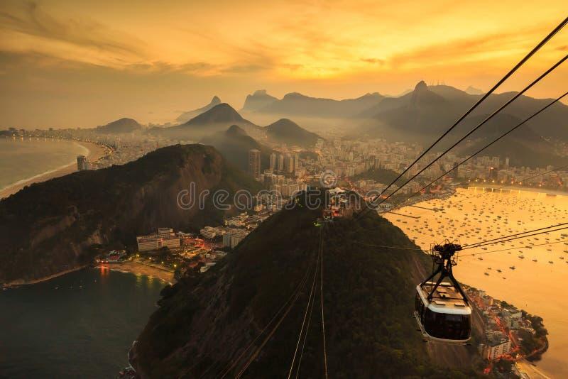 Night view of Copacabana beach, Urca and Botafogo in Rio de Jane royalty free stock photo