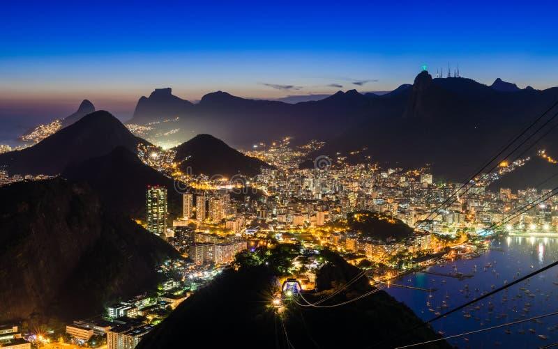 Night view of Corcovado and Botafogo in Rio de Janeiro stock photo