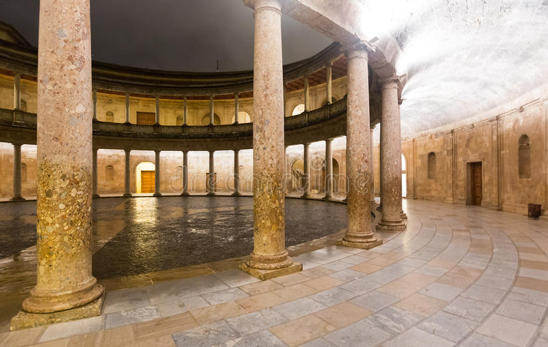 Download Night View Of  Courtyard Of The Palace Of Charles V At Alhambra. Stock Image - Image of ancient, charles: 74379921