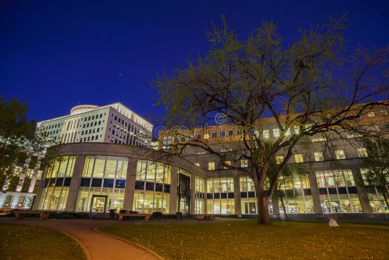Night view of the Denver Central Library. In the Civic center stock photo
