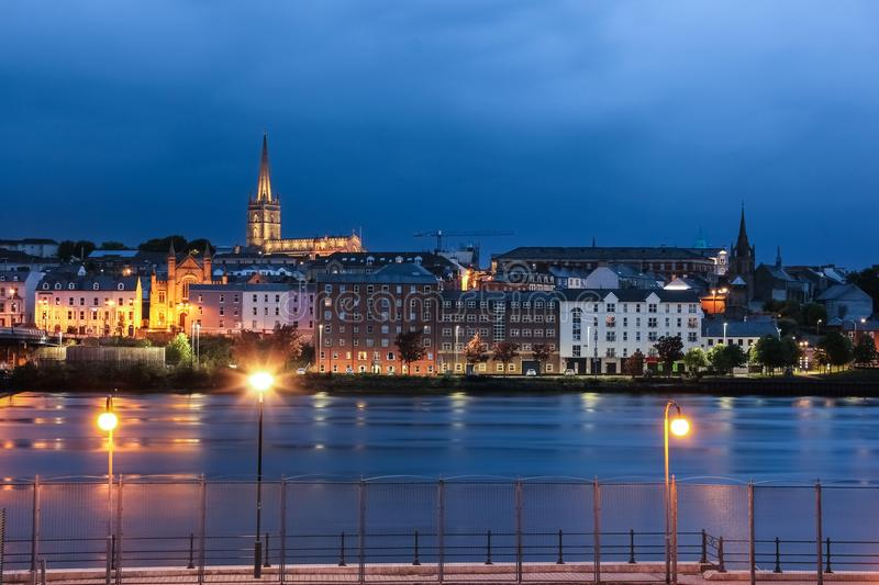 Night view. Derry Londonderry. Northern Ireland. United Kingdom. City centre at night. Saint Columb`s Cathedral illuminated. Derry Londonderry. Northern Ireland royalty free stock images