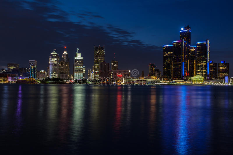 Night view of Detroit stock images