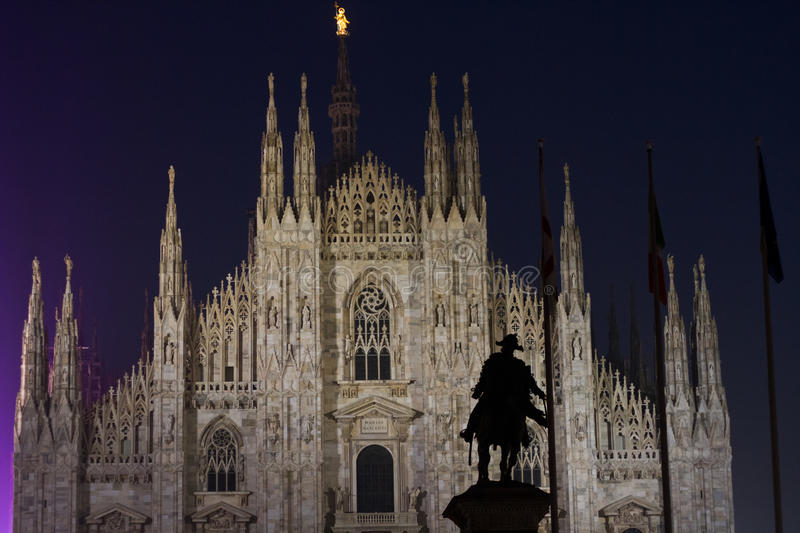Night view of Dome in Milan royalty free stock images