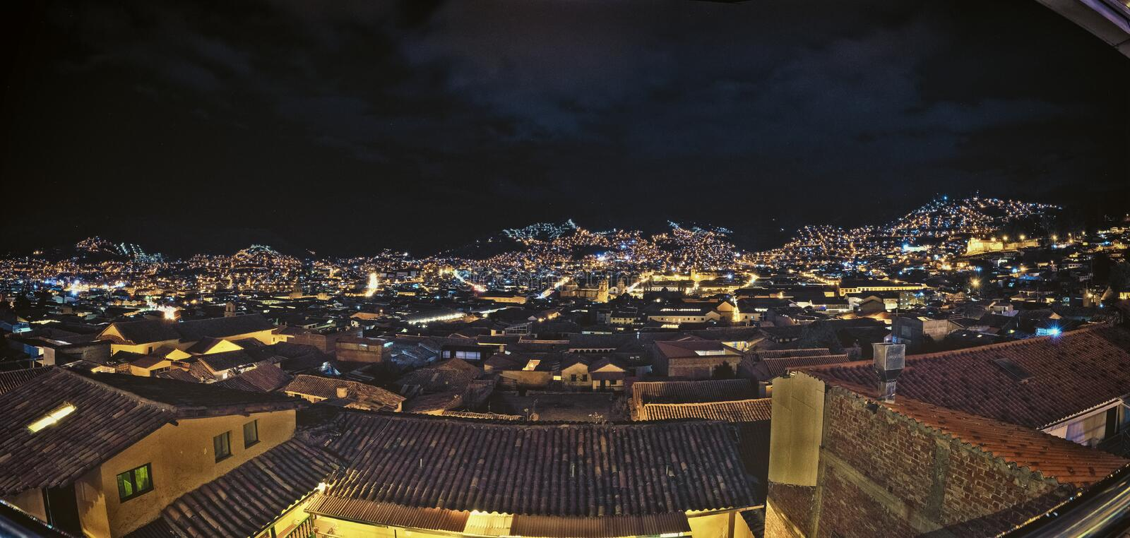 The night view of downtown area of Cusco, Peru. With countless street lights on the hill. Very beautiful and stunning. stock photo