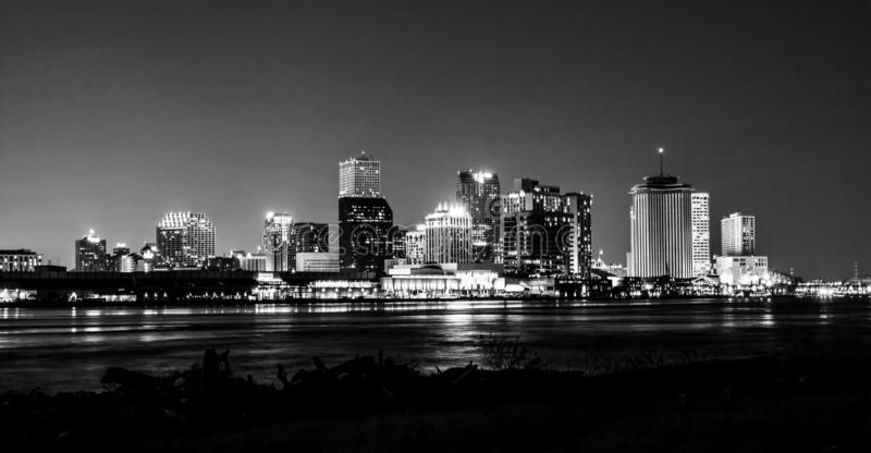 Night view of downtown New Orleans, Louisiana stock photos