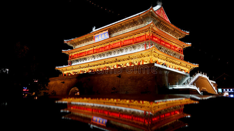 Night view of Drum Tower in Xian royalty free stock photo