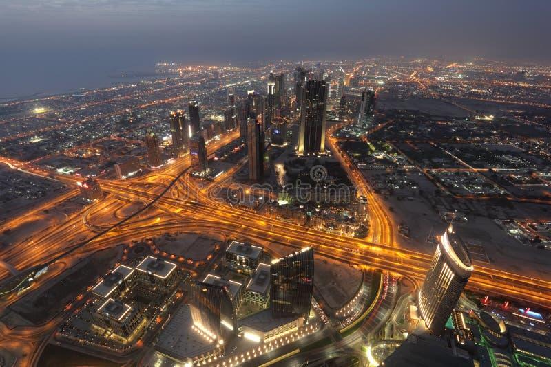 Night view of Dubai royalty free stock photos