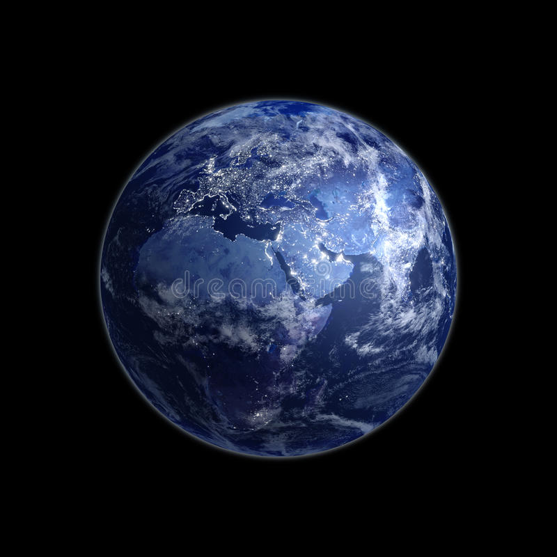 Download Night view of the Earth stock illustration. Illustration of blue - 10258874