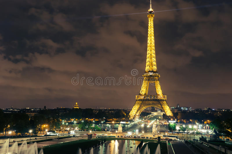 Night View from Eiffel Tower, Paris. France stock images