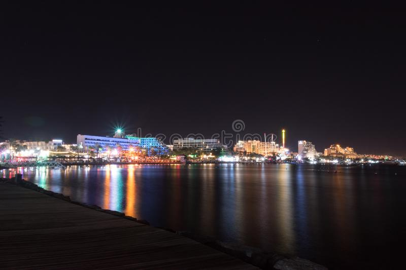 Night view of Eilat resort in Israel.  royalty free stock images
