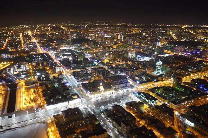 Night view of Ekaterinburg from a bird`s eye view within the historical center of the beautiful Ural city royalty free stock photos