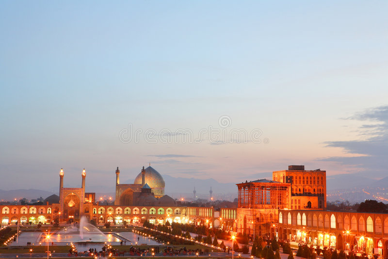 Night view of Esfahan, Iran. Naqsh-i Jahan Square in Isfahan, Iran royalty free stock images