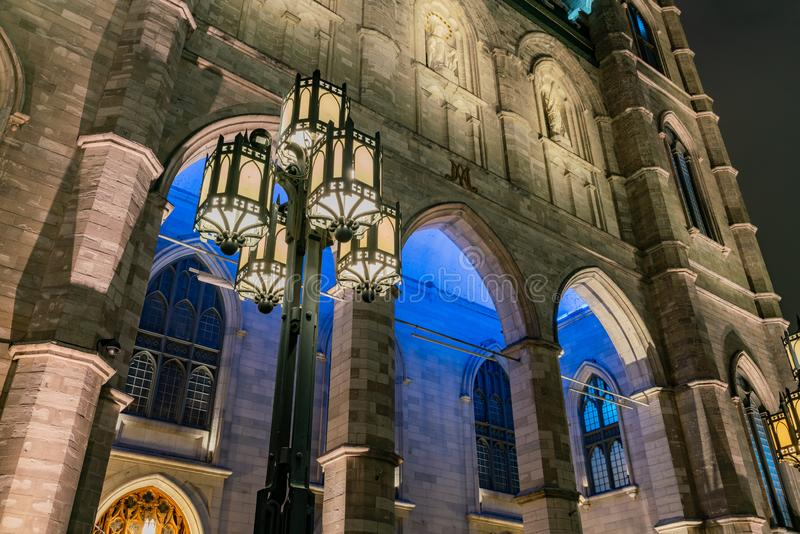 Night view of the famous Basilique Notre-dame De Montreal. At Quebec, Canada stock photo