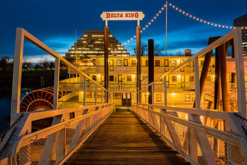 Night view of the famous Delta King royalty free stock image