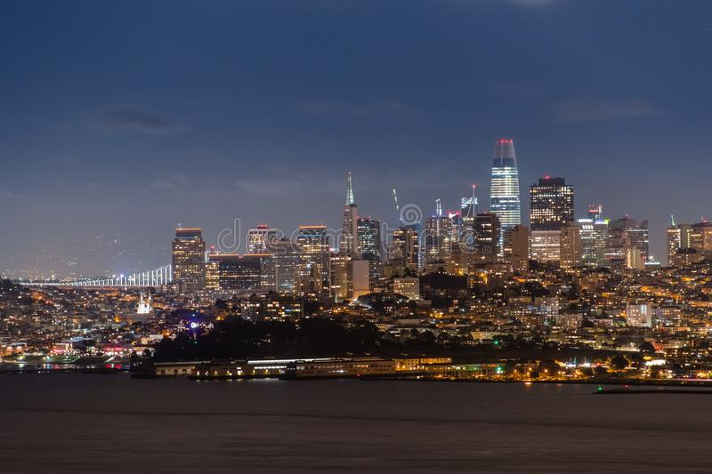 Night view of the Financial District, San Francisco stock image