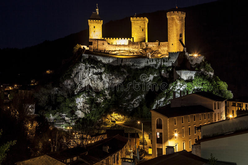 Night View of Foix stock image