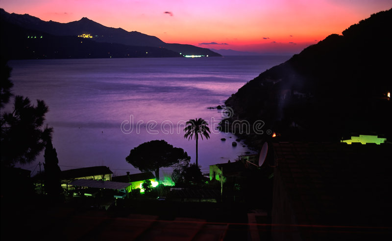 Night view of forno beach stock images